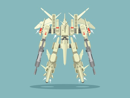 Military robot transformer. Metallic isolated robotic, toy, warrior fantasy cyborg, futuristic technology, mechanism machine gun, vector illustration