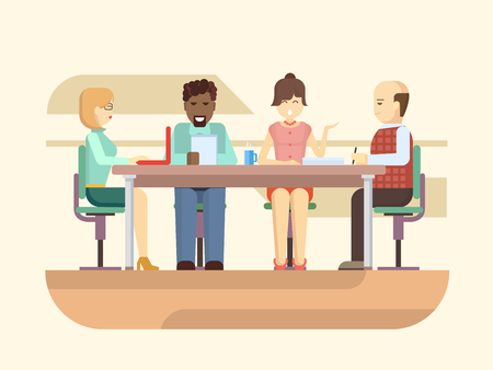 office team: Business briefing. Meeting and corporate office work, team businesspeople, partner and employee, mentor woman. Flat vector illustration