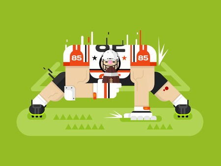 green field: American football player. Protection pose, ball and athlete, game and touchdown, flat vector illustration Illustration