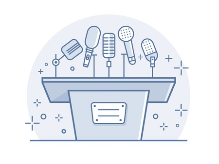 Tribune with microphones. Conference and debate, podium for presentation, tribune for seminar, line vector illustration