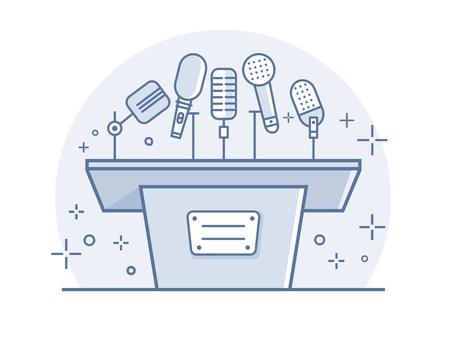 Tribune with microphones. Conference and debate, podium for presentation, tribune for seminar, line vector illustration