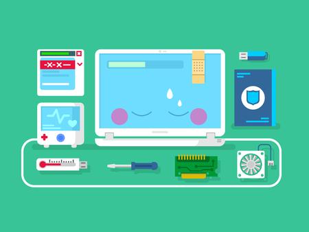 mantenimiento: Reparación de ordenador. Servicio de Informática, el mantenimiento y la creación de diagnóstico, ilustración vectorial plana
