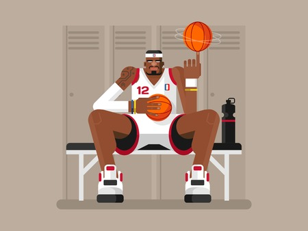 sporty: Cartoon basketball player. Athlete person, game and strong man, character sportsman, flat vector illustration