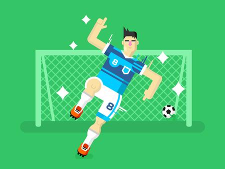 hombre fuerte: Jugador de fútbol. Deporte fútbol, ??juego de equipo, el objetivo y la competencia, el hombre juego de caracteres. Ilustración vectorial Flat
