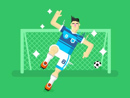 goals: Soccer player. Sport football, team game, goal and competition, character man play. Flat vector illustration
