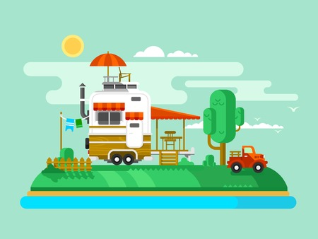 at leisure: Vacation trailer. Trip and tourism, outdoor design flat, camping adventure and leisure, flat vector illustration Illustration