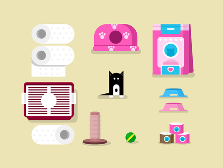 toy toilet bowl: Kitten and accessories. Animal character, toy ball, napkins and canned. flat vector illustration Illustration