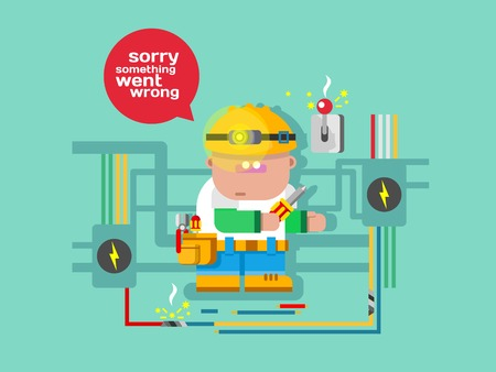 website: Website error page concept with funny character. Sign warning, alert concept, flat vector illustration