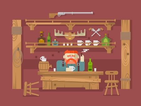stern: Interior of the bar. Stern man and alcohol beer, tavern or pub, flat vector illustration Illustration