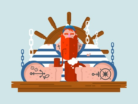 sailor: Character sailor. Person marine man and steering wheel wooden, nautical human with beard, flat vector illustration Illustration