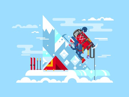 challenges: Climber conquers the summit. Mountain and adventure, climbing and challenge, brave and courage, extreme and risk, vector illustration Illustration