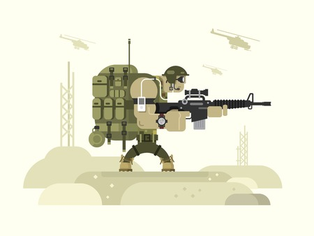 Character military peacekeeper. Army soldier and war, weapon and uniform, flat vector illustration Vectores