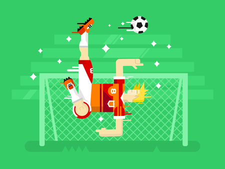 football players: Jugador de f�tbol en un salto. Deporte f�tbol, ??juego de equipo, el objetivo y la competencia, el hombre juego de caracteres. Ilustraci�n vectorial Flat