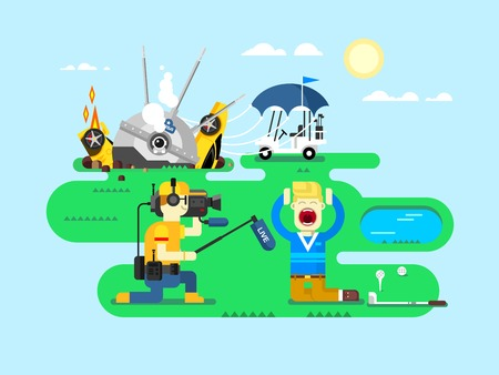 actuality: Hot news. Report daily, journalist and reporter, television concept, cartoon event, flat vector illustration