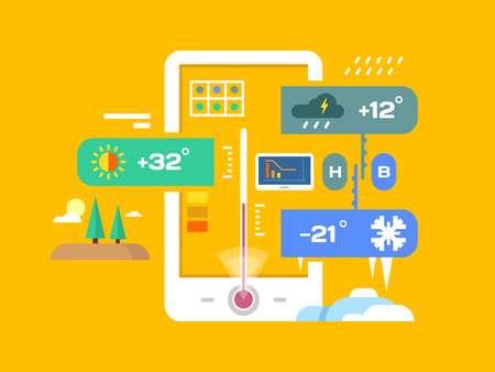 digital thermometer: Weather application. Forecast and temperature, smartphone and rainy,  sunny and meteorology, flat vector illustration