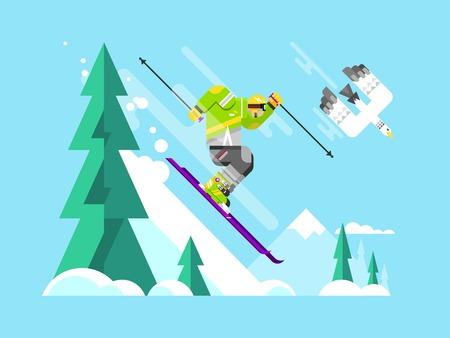 action: Cartoon character skier. Sport winter, snow and speed extreme, flat vector illustration