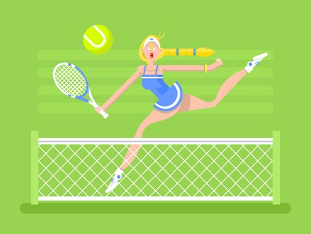 tennis skirt: Cartoon character woman tennis player. Sport player girl, racket and ball, flat vector illustration Illustration