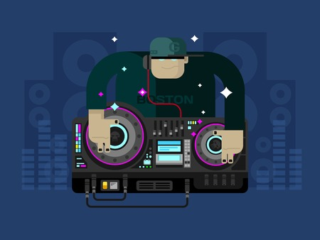 dj: DJ character music. Party and sound, audio disco, musical entertainment. Flat vector illustration