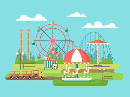 tren caricatura: Parque de atracciones. El montar en el carrusel, vacaciones en familia. Ilustración vectorial Flat