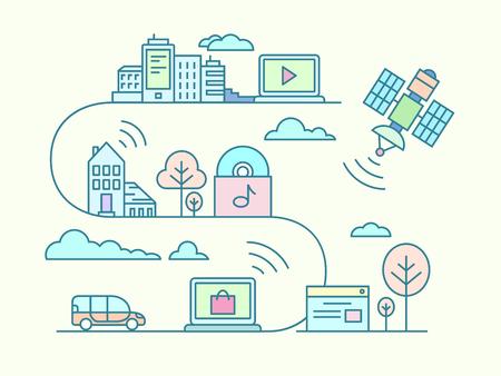 통신: 통신 및 연결의 개념입니다. 무선 및 네트워크, 원격 라인 벡터 일러스트 레이 션, 통신