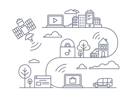 comunicarse: Concepto de comunicación y el uso de Internet. Red, comunicarse a distancia, línea de ilustración vectorial Vectores