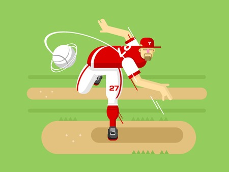 game boy: Baseball player cartoon character. Sport game, boy play, athlete in cap, vector illustration Illustration