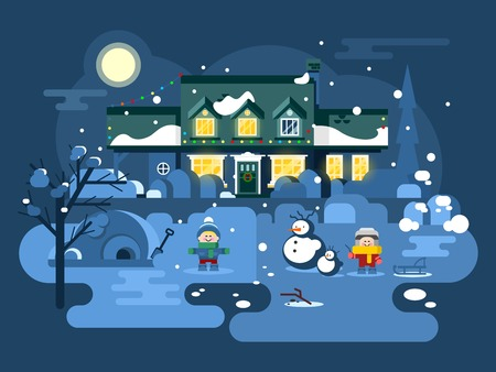 boy girl: Winter night children play. Christmas holiday, snow and play, boy girl and xmas. Flat vector illustration