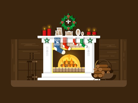 Christmas fireplace. Xmas and fire, home decoration, interior for celebration, flat vector illustration Vettoriali