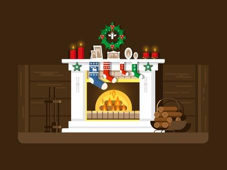 incendio casa: Chimenea de Navidad. Navidad y fuego, la decoración del hogar, interior de celebración, ilustración vectorial plana