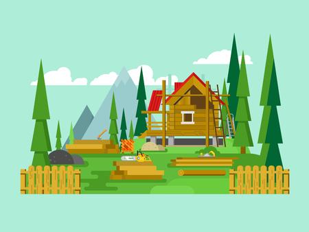 casa de campo: Construcción de chalets. La madera y herramientas, material de madera, construcción de viviendas, ilustración vectorial plana