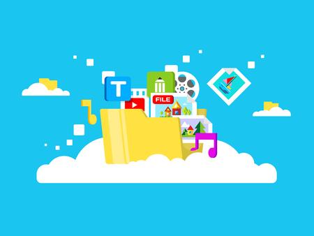 imagen: almacenamiento en la nube, carpeta con archivos de diferentes formatos. Información del documento, archivo web, carga y descarga, ilustración vectorial plana