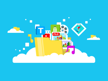 Cloud storage, folder with files of different formats. Document information, archive web, download and upload, flat vector illustration