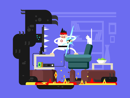 people in action: Gamer cartoon character. Crazy person, technology play game console, joystick and gaming interface. Flat vector illustration
