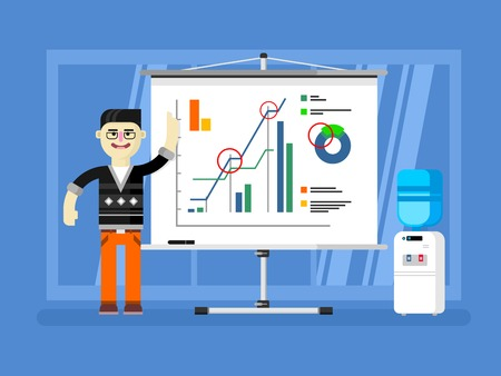 analyst: Financial analyst report shows. Diagram finance, report business, growth chart, market statistic, flat vector illustration