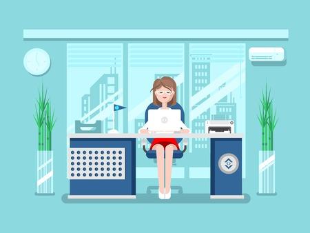 administracion de empresas: Secretario en funciones. Persona empresaria, trabajadora, trabajo y empleo, hembra joven, ilustración vectorial plana Vectores