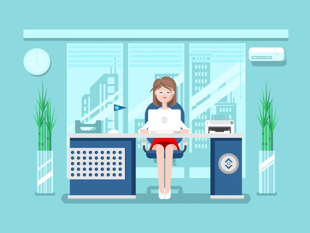 business desk: Secretary in office. Businesswoman person, worker woman, work and job, young female, flat vector illustration Illustration