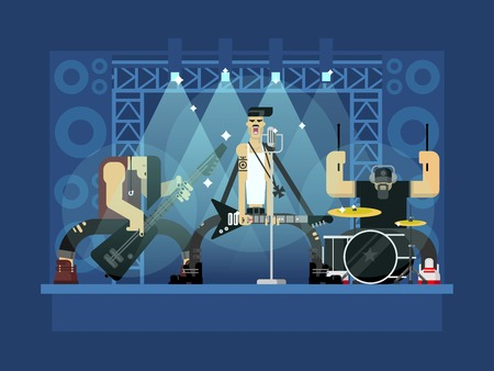 Rock band concert, guitar and musician, musical instrument, sound and performance, stage and guitarist, flat vector illustration Çizim