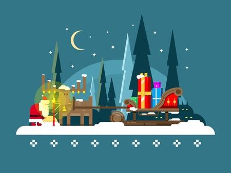 renna: Natale, slitta. Per le vacanze di Natale, l'inverno e Santa, regalo e renne, piatta illustrazione vettoriale