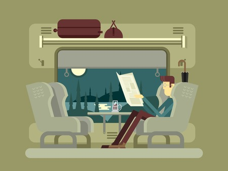 commuter train: Passenger train. Transportation travel, railway transport, umbrella and luggage, table and window, newspaper and tea, flat vector illustration