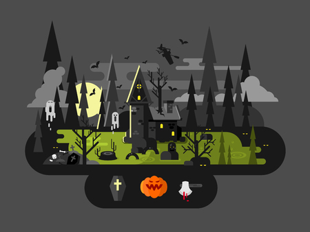 flying coffin: Halloween house at night. Horror monster, ax and witch, flat vector illustration