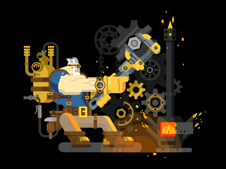 settings: Steam engineer. Worker engineering, repairman and wrench, heat and flame, boiler machine, flat vector illustration Illustration