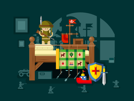 under the bed: Child playing in the room. Childhood play, war and home, nightmare monster. Flat vector illustration