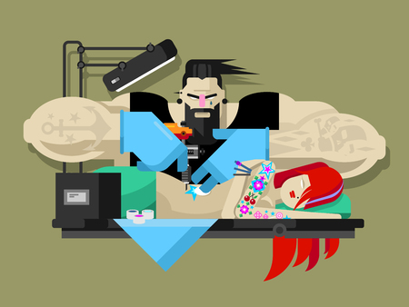 tattoo girl: Tattoo master. Machine professional, fashion tattooing, tattooist art, artist and body, flat vector illustration Illustration