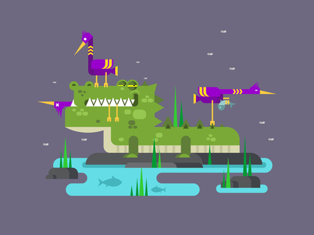 alligator cartoon: Crocodile character. Animal cartoon, alligator reptile predator wild, flat vector illustration Illustration
