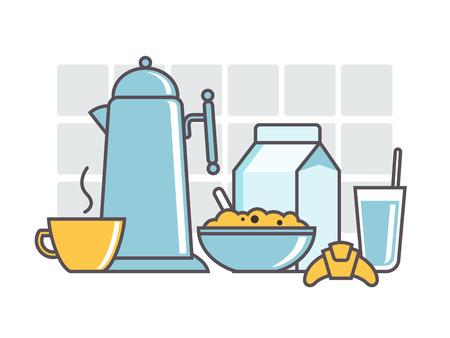 breakfast cereal: Breakfast cereal milk tea coffee. Food and package milk, glass beverage, egg and juice, line vector illustration Illustration
