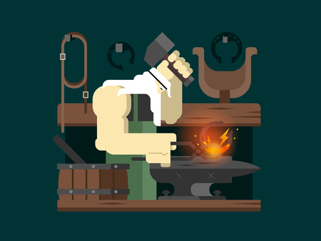worker person: Blacksmith character. Hammer and anvil, worker and metal, person man, flat vector illustration