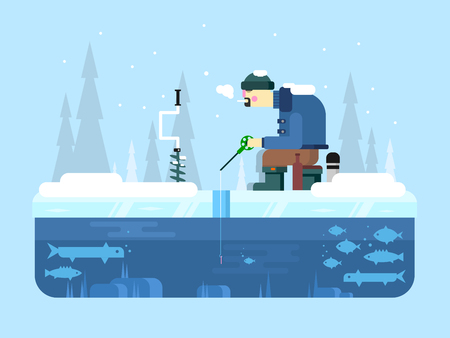ice fishing: Winter fishing. Ice and snow, cold nature, water lake, fish and outdoor leisure, flat vector illustration