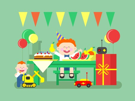 desk toy: Holiday child birthday. Happy kid and gift, celebration and event, air balloon and sweet food. Flat vector illustration Illustration