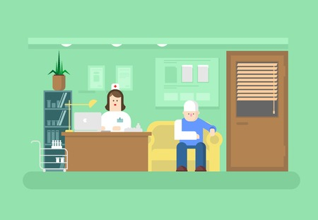 clinics: Reception of doctor in clinic. Hospital and doctor, medical health, patient and care, visit to specialist. Flat vector illustration