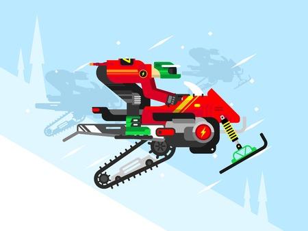 competencia: Competir con competiciones en motos de nieve. Nieve y snowmachine, velocidad extrema, ilustración vectorial plana